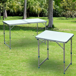 Patio Outdoor Folding Portable Camping Square Roll Up Top Aluminum Picnic Table