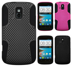 AT&T GoPhone ZTE Radiant Z740 MESH Hybrid Silicone Rubber Skin Case Phone Cover $9.95