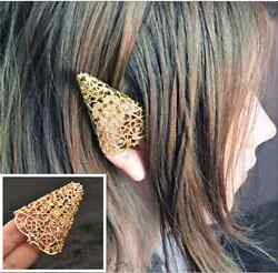Unisex Hot New Fashion Cute Gold Hollow Punk Personality Elf earmuffs Earring