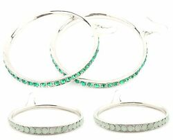 Zest Large Silver-Look Hoop Earrings with Crystals for Pierced Ears