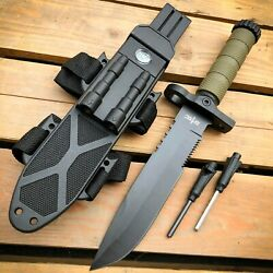 12.5quot; MILITARY TACTICAL Hunting FIXED BLADE SURVIVAL Knife w Fire Starter Army $17.95