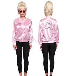 Retro 1950s Classic Movie Satin Pink Ladies Jacket Costume Party Fancy Dress