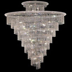 New! Crystal Chandelier Primo Chrome 32 Lights 36X86