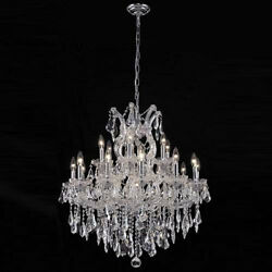New Crystal Chandelier Maria Theresa Chrome 19Lts 30X28 $1,915.70