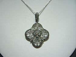 FINE WOMENS ESTATE NECKLACE PENDANT 2.25 CARAT WHITE & CHAMPAGNE DIAMONDS 14K