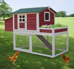 PawHut 63quot; Chicken Coop Wooden Poultry Hen Hutch House Nesting Cage Box New $229.99