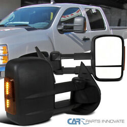 For 07-14 Silverado Sierra Power Heated Extend Side Towing Mirrors+LED Signals