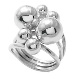 925 Sterling Silver Stunning Multi Ball Women#x27;s Ring