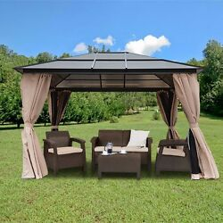 Resort 10 x 12 Polycarbonate Roof Patio Gazebo Aluminum Poles w Panel