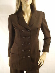 $3200 CHANEL chocolate brown wool 14 CC logo buttons & chain JACKET 97A 34