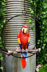 Red Scarlet Macaw Parrot Perching on Branch Home Patio Hanging Decor Figurine $37.99
