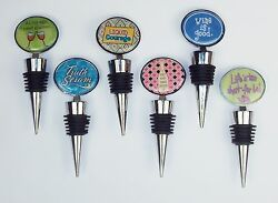 Novelty Wine Stopper Choice of 6 Styles Zinc Metal Alloy w Rubber Seal Rings $7.95