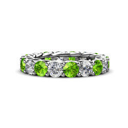 Peridot and Diamond Womens Eternity Ring Stackable 5.09 ctw* 14K Gold JP:29363