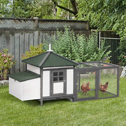 77#x27;#x27; Large Chicken Coop Hen Cage Wooden House backyard Patio w Nestbox Run $229.99