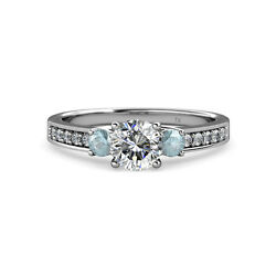 Diamond and Aquamarine Three Stone Ring with Side Diamond 1.45 cttw in 14K Gold
