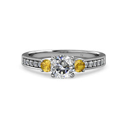Diamond and Citrine Three Stone Ring with Side Diamond 1.45 cttw in 14K Gold