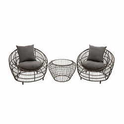 Metal Vinyl Outdoor Furniture Set (Set of 3)