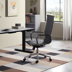Modern High Back Black Ribbed Upholstered PU Leather Executive Office Chair Desk $99.99