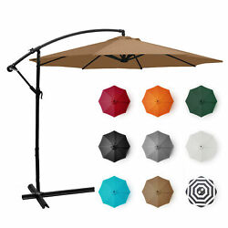 10#x27; Ft Hanging Umbrella Patio Sun Shade Offset Outdoor UV Resistant w Base Tan $75.99