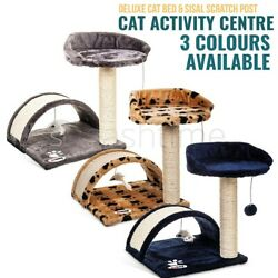 Cat Tree Scratching Post Climbing Activity Centre Sisal Bed Toys Scratcher Tower GBP 15.95