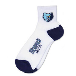 Memphis Grizzlies NBA Mens Large Socks Fits 10 13 White Quarter 501 $9.99