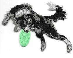 2 1 2quot; x 3 3 8quot; Border Collie Dog Breed Catching Frisbee Embroidered Patch $2.99