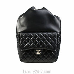 Chanel Black Lambskin Large Backpack New