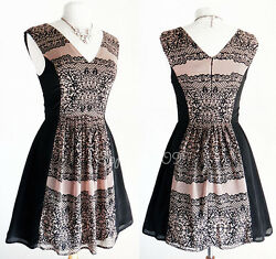 NEW Taupe Black Lace Print Side Panel Contrast Elegant Cocktail Chiffon Dress $14.39