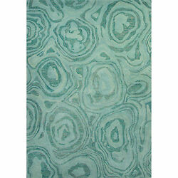 National Geographic Hand-Tufted Abstract Pattern Blue hazeMineral blue Wool (2x