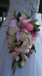 CELTIC BRIDE WEDDING BOUQUET PINK AND IVORY LILIES PEONIES ROSES 25 PC