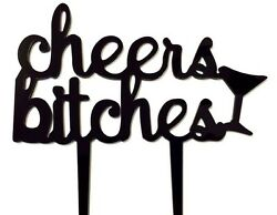 Cheers Bitches Bachelorette Party Girls Night Cake Topper Decoration Bar Sign $5.99