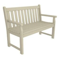 Traditional Modern Garden Bench Recycled Plastic Painted Wood Look Sand Fin