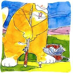 Big Cat Golfing With A Fishing Pole Decorative Indoor & Outdoor Fabric Pillow