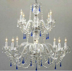 Made with Swarovski Crystal Authentic All Crystal Chandelier with Blue Crystals $488.67