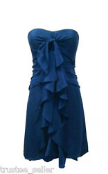BCBG MAXAZRIA Deep Blue Ink Ruffle Sexy Mini Cocktail Chiffon Dress 6 M $191.25