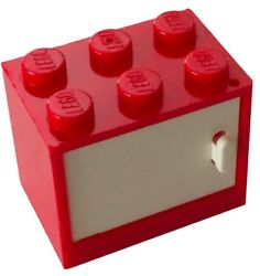 ☀️NEW LEGO RED Container CUPBOARD 2x3x2 with WHITE DOOR $0.99