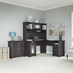 Cabot Collection 60W L Desk Hutch and 2-door Low Storage