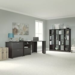 Cabot Collection 60W Corner Desk 16-cube Bookcase and Lateral File