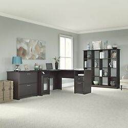 Cabot Collection 60W L Desk 16-cube Bookcase and Lateral File