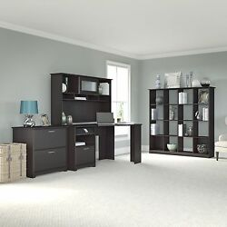 Cabot Collection 60W Corner Desk Hutch 16-cube Bookcase and Lateral File