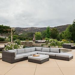 Glenoaks 8-piece Outdoor Wicker Sectional with Sunbrella Cushions by Christopher