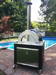 WOOD FIRED PIZZA OVEN - STAINLESS STEEL - COMPLETE w BRUSH & PIZZA PEEL