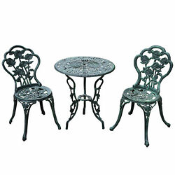 3pc Patio Bistro Furniture Set Outdoor Garden Iron Table Chair Antique Green