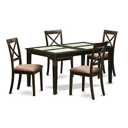 Black Finish Rubberwood 5-piece Dining Room Set with Glass Dining Table and 4 Ch
