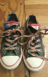 Converse One Star Youth . lace up. Double tongue.sneakers Size 12.green.rainbow $6.90