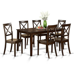Cappuccino Rubberwood 7-piece Formal Dining Room Set with Dining Table and 6 Cha