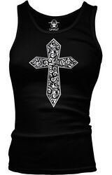 Cross Gothic Metallic Filigree Ladies Beater Tank Top