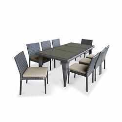 Urban Furnishing Beige PVC Wicker 9-piece Outdoor Patio Dining Set