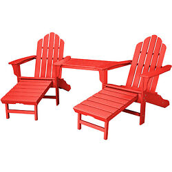 Hanover Rio Sunset Red Steel 3-piece Outdoor All-weather Adirondack Chat Set wit