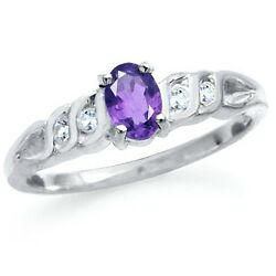 Natural Amethyst & White Topaz 925 Sterling Silver Engagement Ring